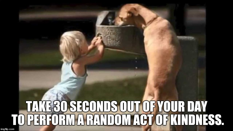 kindness | TAKE 30 SECONDS OUT OF YOUR DAY TO PERFORM A RANDOM ACT OF KINDNESS. | image tagged in kindness | made w/ Imgflip meme maker