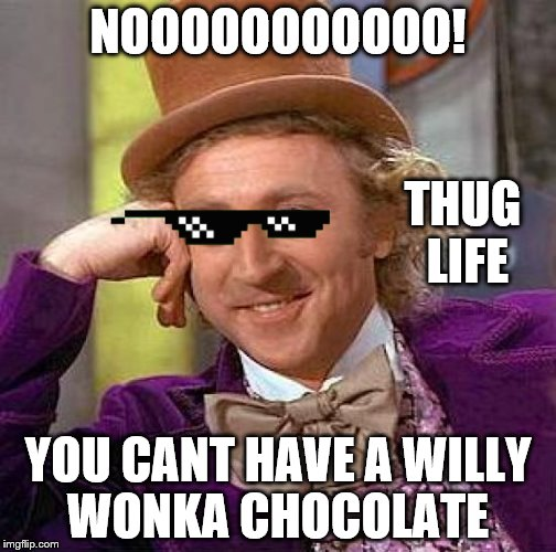 Creepy Condescending Wonka Meme | NOOOOOOOOOOO! YOU CANT HAVE A WILLY WONKA CHOCOLATE THUG LIFE | image tagged in memes,creepy condescending wonka | made w/ Imgflip meme maker
