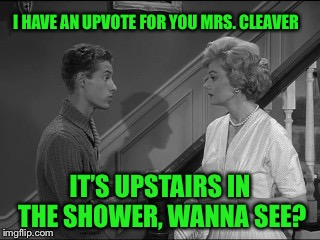 I HAVE AN UPVOTE FOR YOU MRS. CLEAVER IT'S UPSTAIRS IN THE SHOWER, WANNA SEE? | made w/ Imgflip meme maker