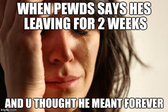 First World Problems Meme | WHEN PEWDS SAYS HES LEAVING FOR 2 WEEKS AND U THOUGHT HE MEANT FOREVER | image tagged in memes,first world problems | made w/ Imgflip meme maker