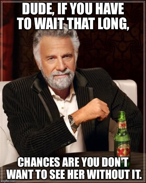The Most Interesting Man In The World Meme | DUDE, IF YOU HAVE TO WAIT THAT LONG, CHANCES ARE YOU DON'T WANT TO SEE HER WITHOUT IT. | image tagged in memes,the most interesting man in the world | made w/ Imgflip meme maker