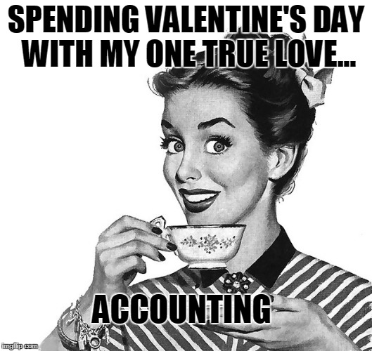 Retro woman teacup | SPENDING VALENTINE'S DAY WITH MY ONE TRUE LOVE... ACCOUNTING | image tagged in retro woman teacup | made w/ Imgflip meme maker