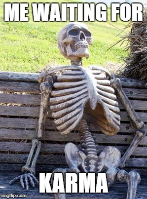 Waiting Skeleton |  ME WAITING FOR; KARMA | image tagged in memes,waiting skeleton | made w/ Imgflip meme maker