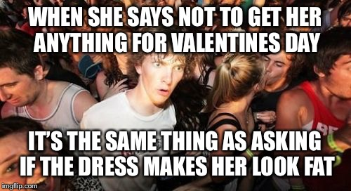 Sudden Clarity Clarence | WHEN SHE SAYS NOT TO GET HER ANYTHING FOR VALENTINES DAY IT'S THE SAME THING AS ASKING IF THE DRESS MAKES HER LOOK FAT | image tagged in memes,sudden clarity clarence | made w/ Imgflip meme maker