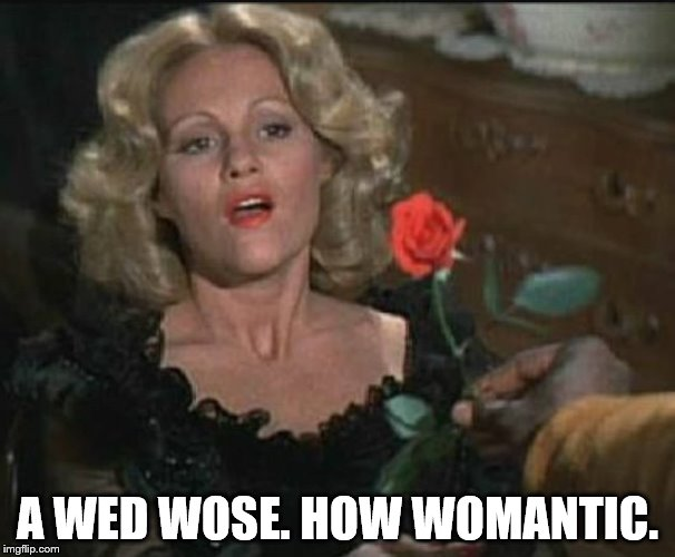 A WED WOSE. HOW WOMANTIC. | image tagged in lili von schtoop | made w/ Imgflip meme maker