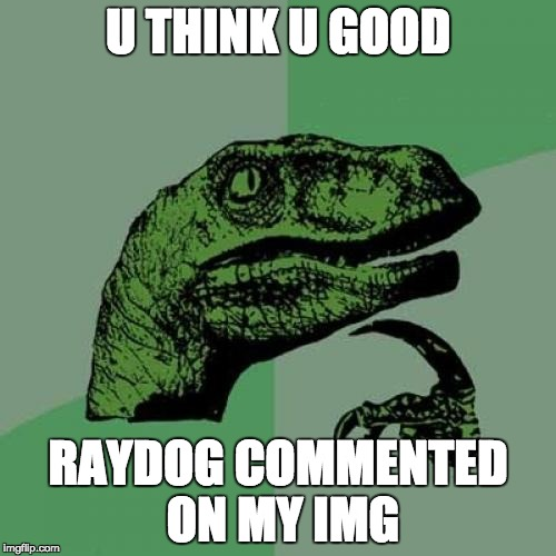 Philosoraptor Meme | U THINK U GOOD RAYDOG COMMENTED ON MY IMG | image tagged in memes,philosoraptor | made w/ Imgflip meme maker