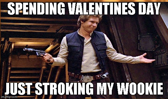 han | SPENDING VALENTINES DAY JUST STROKING MY WOOKIE | image tagged in han solo | made w/ Imgflip meme maker