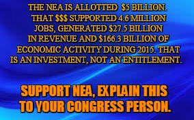 THE NEA IS ALLOTTED  $5 BILLION. THAT $$$ SUPPORTED 4.6 MILLION JOBS, GENERATED $27.5 BILLION IN REVENUE AND $166.3 BILLION OF ECONOMIC ACTI | image tagged in blue background | made w/ Imgflip meme maker