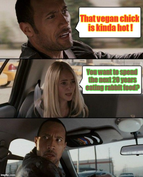 The Rock Driving Meme | That vegan chick is kinda hot ! You want to spend the next 20 years eating rabbit food? | image tagged in memes,the rock driving,veganism,vegan | made w/ Imgflip meme maker