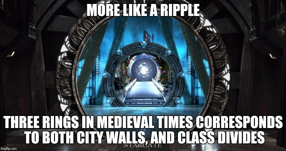 MORE LIKE A RIPPLE THREE RINGS IN MEDIEVAL TIMES CORRESPONDS TO BOTH CITY WALLS, AND CLASS DIVIDES | made w/ Imgflip meme maker