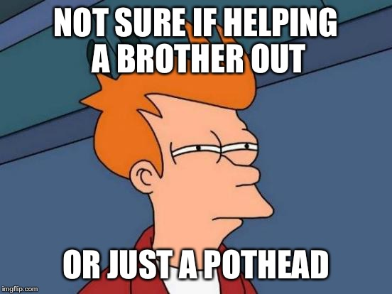 Futurama Fry Meme | NOT SURE IF HELPING A BROTHER OUT OR JUST A POTHEAD | image tagged in memes,futurama fry | made w/ Imgflip meme maker