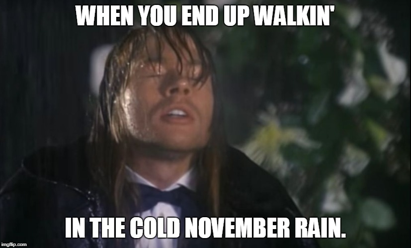 WHEN YOU END UP WALKIN' IN THE COLD NOVEMBER RAIN. | image tagged in november rain | made w/ Imgflip meme maker