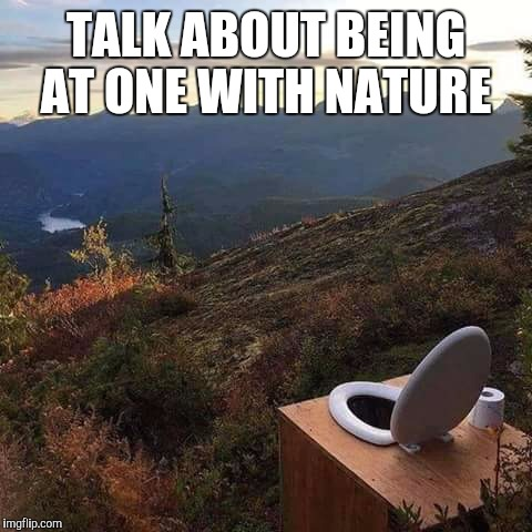 No Flush Required | TALK ABOUT BEING AT ONE WITH NATURE | image tagged in toilet,nature | made w/ Imgflip meme maker