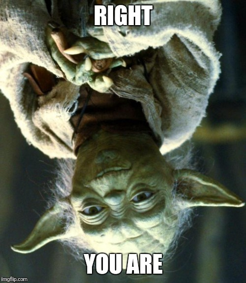 Star Wars Yoda Meme | RIGHT YOU ARE | image tagged in memes,star wars yoda | made w/ Imgflip meme maker