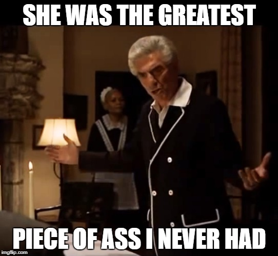 The Greatest Piece of Ass | SHE WAS THE GREATEST PIECE OF ASS I NEVER HAD | image tagged in godfather hagen and woltz,godfather,piece of ass,the godfather | made w/ Imgflip meme maker
