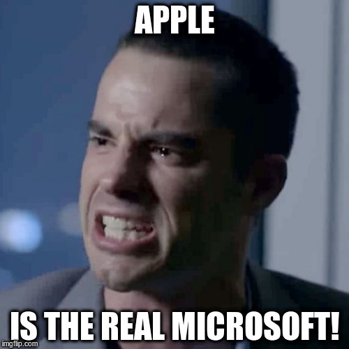 Salty Roger Rabbit | APPLE IS THE REAL MICROSOFT! | image tagged in microsoft | made w/ Imgflip meme maker