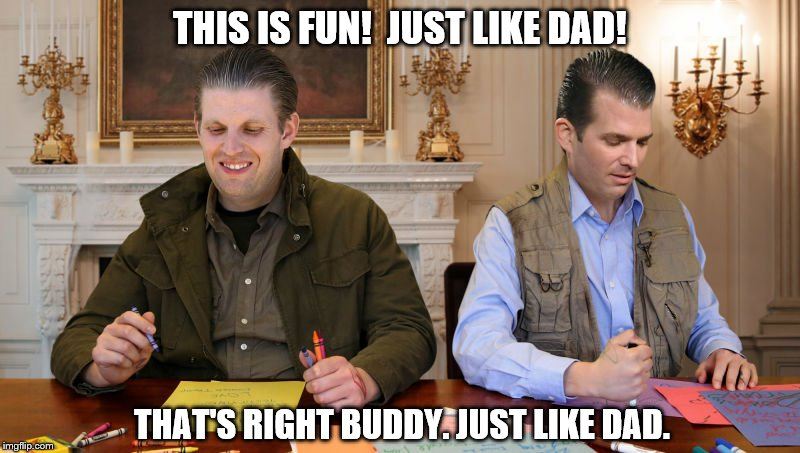Trump boys.  Just Like Dad. | THIS IS FUN!  JUST LIKE DAD! THAT'S RIGHT BUDDY. JUST LIKE DAD. | image tagged in trump boys,eric trump,donald trump jr,trump,trump is a lying piece garbage,trump boys are low life cowards | made w/ Imgflip meme maker