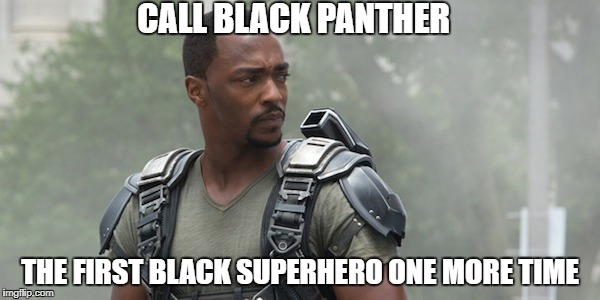 Black Panther is Not the First Black Superhero | CALL BLACK PANTHER THE FIRST BLACK SUPERHERO ONE MORE TIME | image tagged in black panther,falcon,avengers,marvel,mcu,movies | made w/ Imgflip meme maker