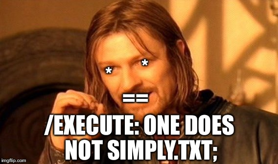 OneDoesNotSimply.txt | * * == /EXECUTE: ONE DOES NOT SIMPLY.TXT; | image tagged in memes,one does not simply | made w/ Imgflip meme maker