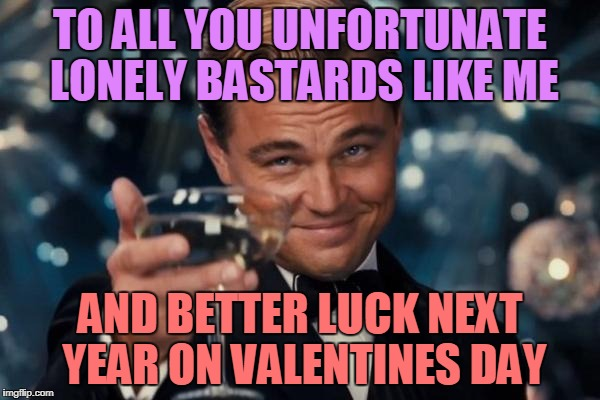 Leonardo Dicaprio Cheers Meme | TO ALL YOU UNFORTUNATE LONELY BASTARDS LIKE ME AND BETTER LUCK NEXT YEAR ON VALENTINES DAY | image tagged in memes,leonardo dicaprio cheers | made w/ Imgflip meme maker