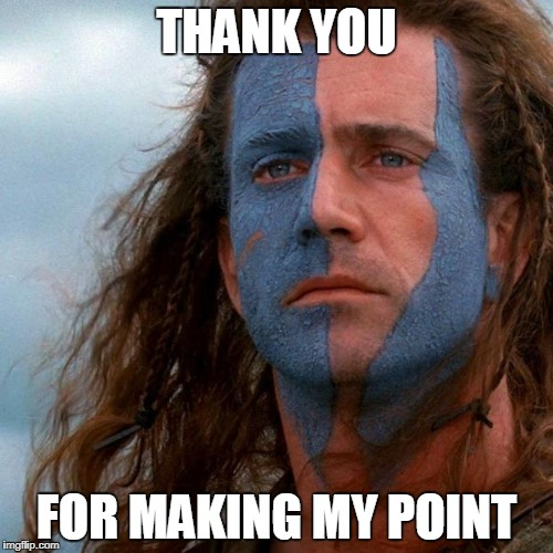 braveheart | THANK YOU FOR MAKING MY POINT | image tagged in braveheart | made w/ Imgflip meme maker