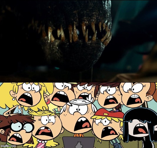 The Indoraptor scares the Loud siblings  | image tagged in the loud house,jurassic world,nickelodeon,universal studios,monster,scary | made w/ Imgflip meme maker
