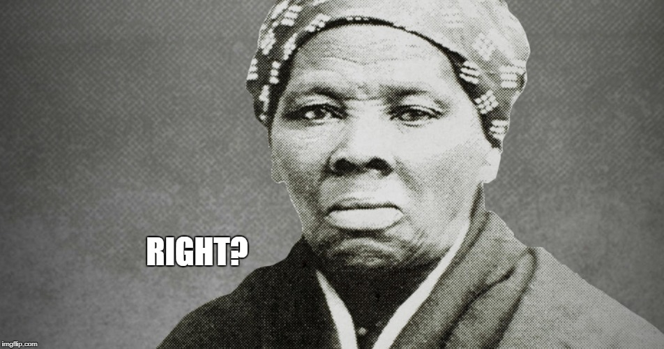 Harriet Tubman | RIGHT? | image tagged in harriet tubman | made w/ Imgflip meme maker
