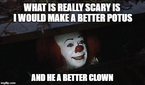 Clown it | WHAT IS REALLY SCARY IS I WOULD MAKE A BETTER POTUS AND HE A BETTER CLOWN | image tagged in clown it | made w/ Imgflip meme maker
