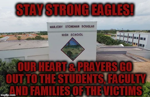 Yet ANOTHER school shooting, this time in Southern Florida, possibly 50 victims! | OUR HEART & PRAYERS GO OUT TO THE STUDENTS, FACULTY AND FAMILIES OF THE VICTIMS STAY STRONG EAGLES! | image tagged in marjory stoneman douglas high school,meanwhile in florida,school shooting,stay strong | made w/ Imgflip meme maker