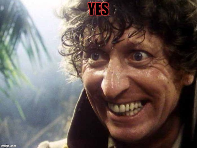 Excited 4th Doctor | YES | image tagged in excited 4th doctor | made w/ Imgflip meme maker