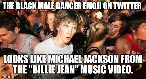 "#Shamoji | THE BLACK MALE DANCER EMOJI ON TWITTER LOOKS LIKE MICHAEL JACKSON FROM THE ""BILLIE JEAN"" MUSIC VIDEO. 