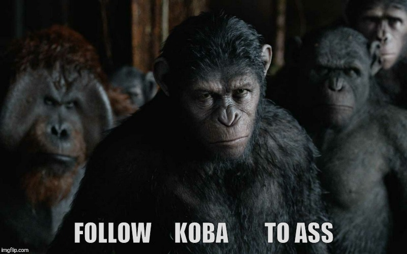 Koba Weaker,,, | FOLLOW     KOBA        TO ASS | image tagged in koba weaker | made w/ Imgflip meme maker