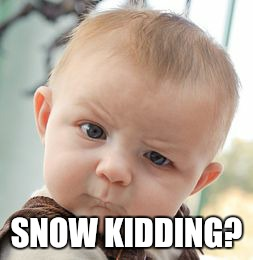 Skeptical Baby Meme | SNOW KIDDING? | image tagged in memes,skeptical baby | made w/ Imgflip meme maker