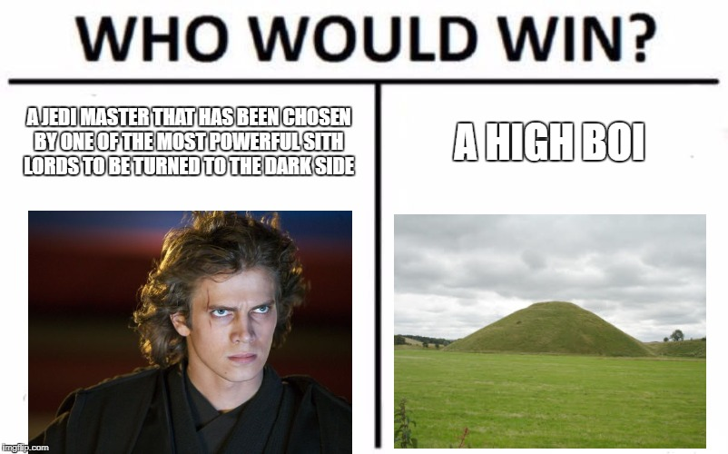 the high ground | A JEDI MASTER THAT HAS BEEN CHOSEN BY ONE OF THE MOST POWERFUL SITH LORDS TO BE TURNED TO THE DARK SIDE A HIGH BOI | image tagged in memes,who would win,anakin skywalker,star wars,the high ground | made w/ Imgflip meme maker