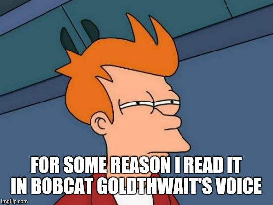 Futurama Fry Meme | FOR SOME REASON I READ IT IN BOBCAT GOLDTHWAIT'S VOICE | image tagged in memes,futurama fry | made w/ Imgflip meme maker