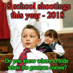 School Kid Pick Me | 18 school shootings this year - 2018 Do you know where to hide when the gunman comes? | image tagged in school kid pick me | made w/ Imgflip meme maker