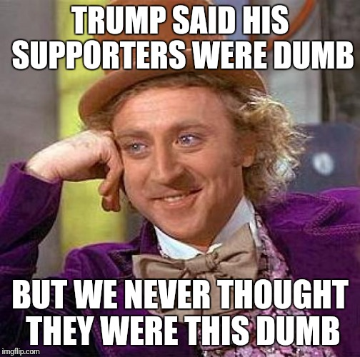 Creepy Condescending Wonka Meme | TRUMP SAID HIS SUPPORTERS WERE DUMB BUT WE NEVER THOUGHT THEY WERE THIS DUMB | image tagged in memes,creepy condescending wonka | made w/ Imgflip meme maker