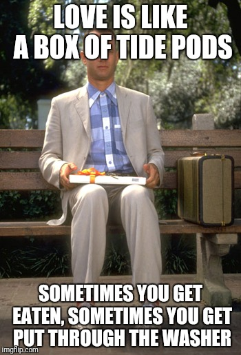 Forest gump | LOVE IS LIKE A BOX OF TIDE PODS SOMETIMES YOU GET EATEN, SOMETIMES YOU GET PUT THROUGH THE WASHER | image tagged in forest gump | made w/ Imgflip meme maker
