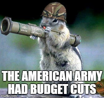 Bazooka Squirrel Meme | THE AMERICAN ARMY HAD BUDGET CUTS | image tagged in memes,bazooka squirrel | made w/ Imgflip meme maker