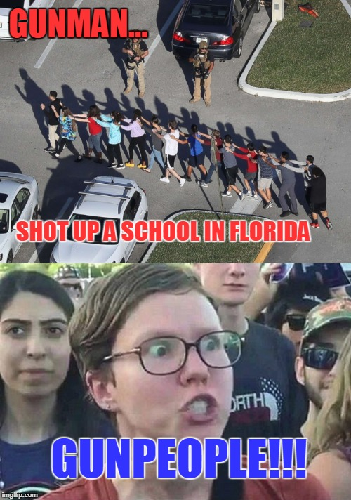 What? Too Soon? |  GUNMAN... SHOT UP A SCHOOL IN FLORIDA; GUNPEOPLE!!! | image tagged in gunman,gunpeople,sjw,liberalism,florida shooting,canadian prime minister | made w/ Imgflip meme maker