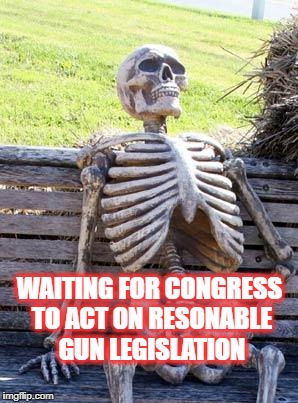 Waiting for congress to act | WAITING FOR CONGRESS TO ACT ON RESONABLE GUN LEGISLATION | image tagged in memes,waiting skeleton | made w/ Imgflip meme maker
