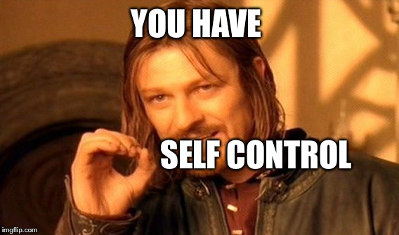 One Does Not Simply Meme | YOU HAVE SELF CONTROL | image tagged in memes,one does not simply | made w/ Imgflip meme maker