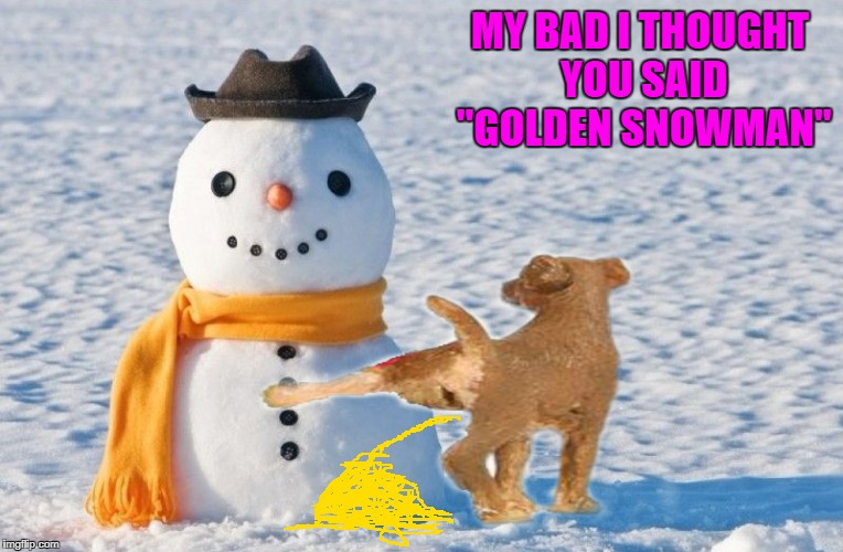 "MY BAD I THOUGHT YOU SAID ""GOLDEN SNOWMAN"" 