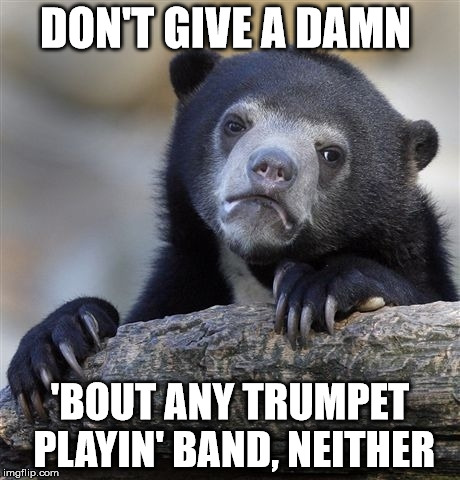 Confession Bear Meme | DON'T GIVE A DAMN 'BOUT ANY TRUMPET PLAYIN' BAND, NEITHER | image tagged in memes,confession bear | made w/ Imgflip meme maker