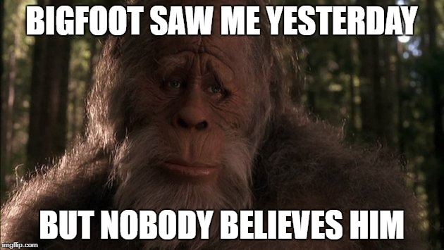 Gotta have proof? | BIGFOOT SAW ME YESTERDAY BUT NOBODY BELIEVES HIM | image tagged in bigfoot | made w/ Imgflip meme maker