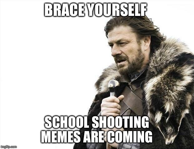 Brace Yourselves X is Coming Meme | BRACE YOURSELF SCHOOL SHOOTING MEMES ARE COMING | image tagged in memes,brace yourselves x is coming,school shooting,school shooter | made w/ Imgflip meme maker