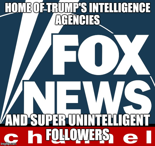 Fox news | HOME OF TRUMP'S INTELLIGENCE AGENCIES AND SUPER UNINTELLIGENT FOLLOWERS | image tagged in fake news | made w/ Imgflip meme maker
