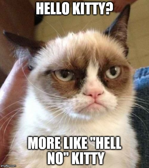 "Grumpy Cat Reverse | HELLO KITTY? MORE LIKE ""HELL NO"" KITTY 