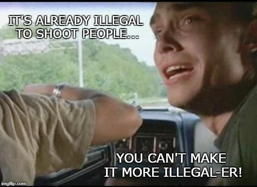 Can't pull over farther | IT'S ALREADY ILLEGAL TO SHOOT PEOPLE... YOU CAN'T MAKE IT MORE ILLEGAL-ER! | image tagged in can't pull over farther | made w/ Imgflip meme maker