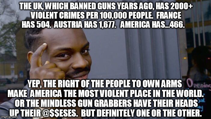 Don't let the corporatocracy stampede you.  There's a reason they want you to surrender your rights, and this one especially | THE UK, WHICH BANNED GUNS YEARS AGO, HAS 2000+ VIOLENT CRIMES PER 100,000 PEOPLE.  FRANCE HAS 504.  AUSTRIA HAS 1,677.   AMERICA HAS...466.  | image tagged in memes,roll safe think about it,guns | made w/ Imgflip meme maker